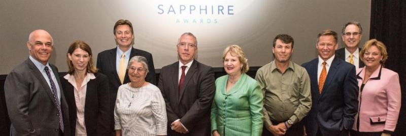 2015 Sapphire Honorees with Florida Blue leaders (left to right): Pat Geraghty, Miranda Hawker, Jason Altmire, Margarita Romo, Ray Casas, Virginia Jacko, Isidoro Quezada, Moody Chisholm, Charlie Joseph and Susan Towler.