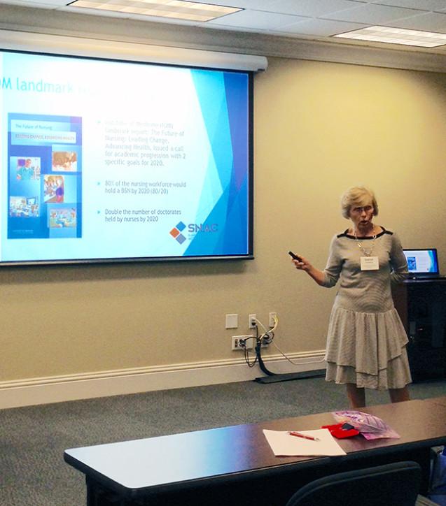 SNAC Nurse Navigator, Bonnie, presents at the Community Foundation of Sarasota County.